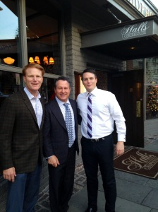 Gino Blefari, HSF Affiliates LLC incoming CEO with Halls Chophouse owners, Billy and Tommy Hall.