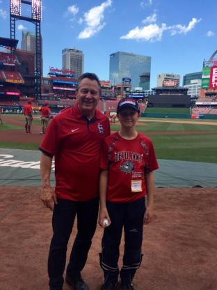 Gino Blefari with Steven Conner of the Sunshine Kids at St Louis Cardinals, Busch Stadium just before Steven threw out the first pitch of the game.
