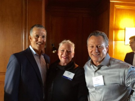 Gino Blefari, CEO of HSF Affiliates, connected with Chris Heller, CEO of Keller Williams and Sherry Chris, CEO of Better Homes and Gardens Real Estate at Inman Connect 2016 in San Francisco.