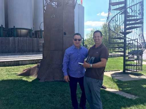 Gino Blefari with Sam Calagione, founder of Dogfish Head Brewery.